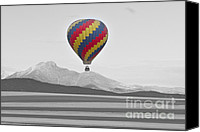 Selective Color Canvas Prints - Colorful Hot Air Balloon and Longs Peak Canvas Print by James Bo Insogna