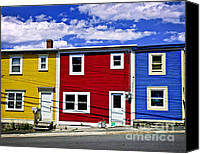 Canada Canvas Prints - Colorful houses in St. Johns Newfoundland Canvas Print by Elena Elisseeva