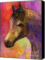 Austin Mixed Media Canvas Prints - Colorful impressionistic pensive horse painting print Canvas Print by Svetlana Novikova