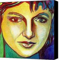 Ball Point Pen Canvas Prints - Colorful Lady Canvas Print by Jerry  Stith