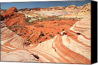 Red Rock Formations Canvas Prints - colorful landscape at the wave in Valley of Fire Canvas Print by Pierre Leclerc