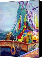 Seascape Pastels Canvas Prints - Colorful Nets Canvas Print by Candy Mayer