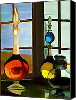 Glass Bottles Canvas Prints - Colorful Old Bottles Canvas Print by Suni Roveto