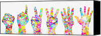 Five Canvas Prints - Colorful Painting Of Hands Number 0-5 Canvas Print by Setsiri Silapasuwanchai