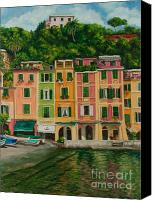 Italian Mediterranean Art Canvas Prints - Colorful Portofino Canvas Print by Charlotte Blanchard