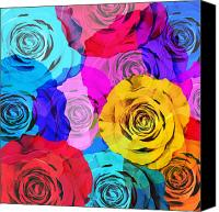 Postcard Photo Canvas Prints - Colorful Roses Design Canvas Print by Setsiri Silapasuwanchai
