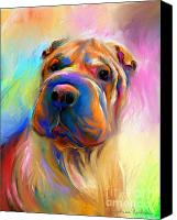 Pet Portrait Digital Art Canvas Prints - Colorful Shar Pei Dog portrait painting  Canvas Print by Svetlana Novikova