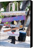Grand Cayman Canvas Prints - Colorful Signs at Rum Point Grand Cayman Island Canvas Print by George Oze