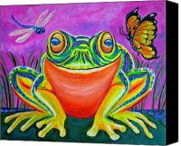 Frog Art Canvas Prints - Colorful Smiling frog-VooDoo Frog Canvas Print by Nick Gustafson