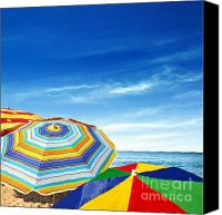 Seaside Canvas Prints - Colorful Sunshades Canvas Print by Carlos Caetano