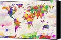 Watercolor Map Digital Art Canvas Prints - Colorful Watercolor World Map Canvas Print by Zaira Dzhaubaeva