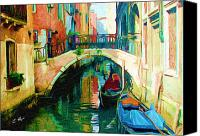 Red Moon Digital Art Canvas Prints - Colorfull Venice Canvas Print by Ellens Art