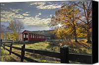 Fences Canvas Prints - Colors Of Autumn Canvas Print by Debra and Dave Vanderlaan