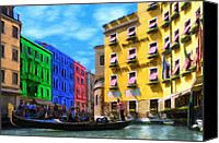 Gondoliers Canvas Prints - Colors of Venice Canvas Print by Jeff Kolker