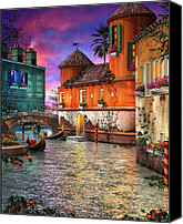Color Mixed Media Canvas Prints - Colors of Venice Canvas Print by Joel Payne
