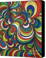 Abstraction Drawings Canvas Prints - Colorway 2 Canvas Print by Ramneek Narang