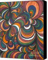 Abstraction Drawings Canvas Prints - Colorway 4 Canvas Print by Ramneek Narang