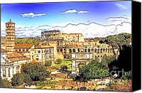 Rome Mixed Media Canvas Prints - Colosseum and roman forum Canvas Print by Stefano Senise