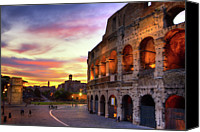 Color Photo Canvas Prints - Colosseum At Sunset Canvas Print by Christopher Chan