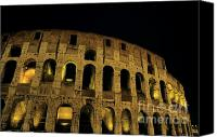 Tourist Destinations Canvas Prints - Colosseum illuminated at night Canvas Print by Sami Sarkis