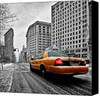 International Landmark Canvas Prints - Colour Popped NYC Cab in front of the Flat Iron Building  Canvas Print by John Farnan