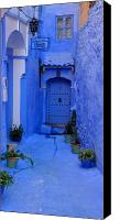 Morocco Canvas Prints - Colourful Blue Side Alley with Hotel Entry Door Chefchaouen Morocco Canvas Print by Ralph Ledergerber