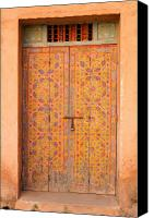 Entrance Door Canvas Prints - Colourful Entrance Door Sale Rabat Morocco Canvas Print by Ralph Ledergerber