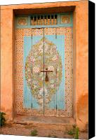 Entrance Door Canvas Prints - Colourful Moroccan Entrance Door Sale Rabat Morocco Canvas Print by Ralph Ledergerber