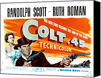 1950 Movies Canvas Prints - Colt .45, Ruth Roman, Randolph Scott Canvas Print by Everett