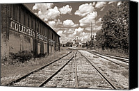 Buy Photos Online Canvas Prints - Columbia TN Train Station Canvas Print by Steven  Michael