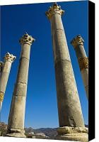 Moroccan Canvas Prints - Column In Capitol In Ancient Roman City Canvas Print by Axiom Photographic