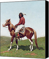 Remington Canvas Prints - Comanche Brave Canvas Print by Frederic Remington