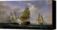 Coast Tapestries Textiles Canvas Prints - Combat between the French Frigate La Canonniere and the English Vessel The Tremendous Canvas Print by Pierre Julien Gilbert