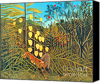 Storm Prints Canvas Prints - Combat du Tigre by Henri Rousseau Canvas Print by Pg Reproductions