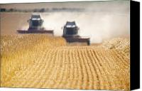 Cultivation Canvas Prints - Combines Harvesting Field, North Canvas Print by John Short