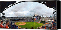 Stadium Digital Art Canvas Prints - Comerica Park Home of the Detroit Tigers Canvas Print by Michelle Calkins