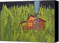 Log Cabin Art Canvas Prints - Comfy In The Pines Canvas Print by W C Allen