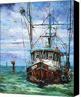 Louisiana Seafood Canvas Prints - Coming Home Canvas Print by Dianne Parks