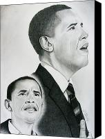 Michelle Drawings Canvas Prints - Commander In Chief Canvas Print by Timothy Gaddy