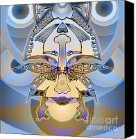 Airbrush Art Digital Art Canvas Prints - Commemorative Upside Down Masg Art by Topsy Turvy Ambigram Artist L R Emerson II Canvas Print by L R Emerson II