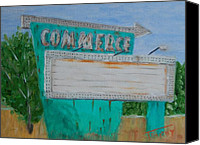 Drive-in Movie Painting Canvas Prints - Commerce Drive In Canvas Print by Timothy Johnson