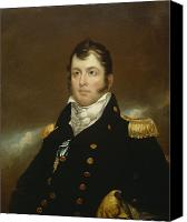 Military Uniform Painting Canvas Prints - Commodore Oliver Hazard Perry Canvas Print by John Wesley Jarvis