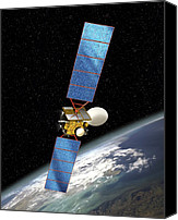 21st Century Canvas Prints - Communications Satellite, Artwork Canvas Print by David Ducros