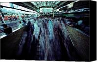 Rail Vehicles Canvas Prints - Commuters Crowd A Subway Platform Canvas Print by Paul Chesley