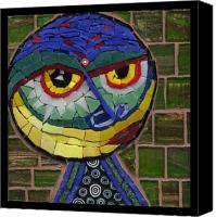 Unique Glass Art Canvas Prints - Companion to Klee - Fantasy Face No.15 Canvas Print by Gila Rayberg