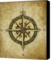 Rose Canvas Prints - Compass Rose Canvas Print by Judy Merrell