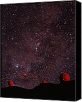 Mauna Kea Canvas Prints - Composite Image Of Halleys Comet & Mauna Kea Canvas Print by Magrath Photographynielsen