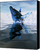 Whale Canvas Prints - Computer Illustration Of A Humpback Whale Canvas Print by Victor Habbick Visions