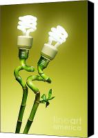 Green Photo Canvas Prints - Conceptual lamps Canvas Print by Carlos Caetano