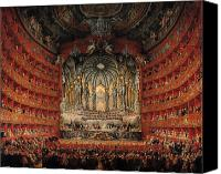 Chandelier Canvas Prints - Concert given by Cardinal de La Rochefoucauld at the Argentina Theatre in Rome Canvas Print by Giovanni Paolo Pannini or Panini